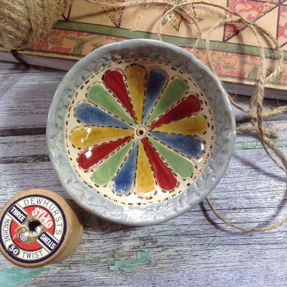 Handmade Tiny Patch Dish, Trinket Dish, Dresden Plate pattern.