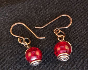 Red Wire-wrapped Beaded Earrings