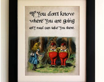 FRAMED Alice in Wonderland Vintage Style Quote Print, Shabby Chic, Wall Art Print, Fab Picture Gift