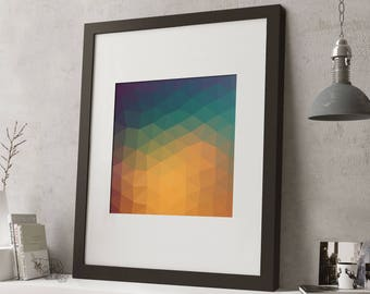 FRAMED Geometric Modern Art Print, 2 sizes, Black or White Frame