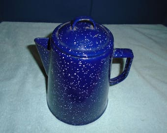 Enameled coffee pot. enamelware. Spatter painted . vintage coffee pot. coffee pot. metal coffee pot.