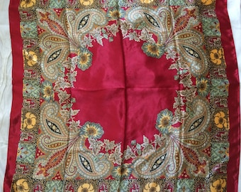 Vintage Paisley and Floral Pattern Silk Scarf Vibrant Red Large Square Scarf Silk Rayon Acetate Scarf - FREE SHIPPING EVERYWHERE