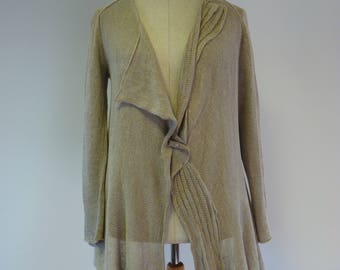 Casual taupe linen cardigan, L size. Made of pure linen.