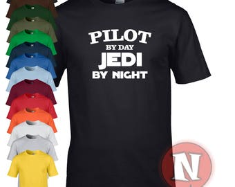 Pilot by day, Jedi by night funny Star Wars t-shirt. Treat your pilot to a little gift, even of it is yourself!
