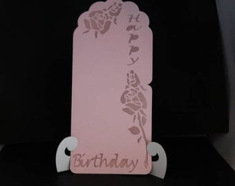 Birthday card - pink theme on stem