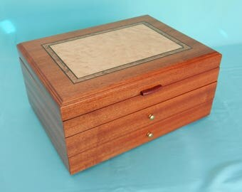 Sapele Jewelry Box with Two Drawers