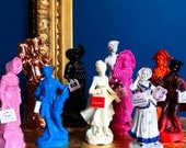 Upcycled vintage china figurines with handmade designer bags