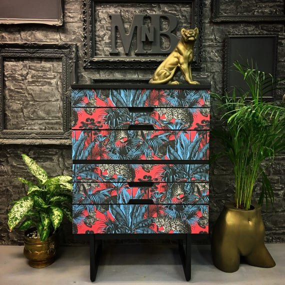 Vintage Uniflex chest of drawers in Faunacation by Divine Savages