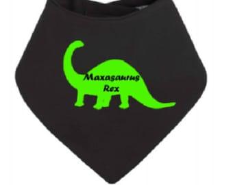 Personalised Dinosaur your name dribble bandana bib baby shower gift