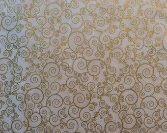 Holiday Metallic Cream Fabric