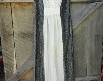 CLEARANCE glittery black white silver long dress the 80s Size 16 1/2