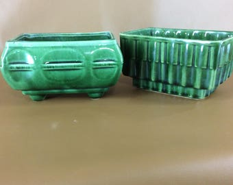 CLEARANCE Pair vintage green planters USA made