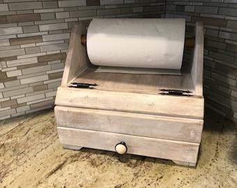 Rustic Bread box / paper towel holder combo