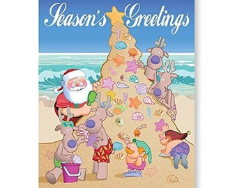 Sand Christmas Tree - Beach Christmas Cards - 18 Cards & Envelopes - 30061