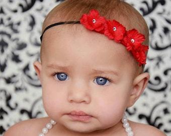 Red Rose Headband, Red Baby Headband, Red Flower Crown Headband, Red Newborn Headband, Newborn Headband Red, Baby Flower Headpiece