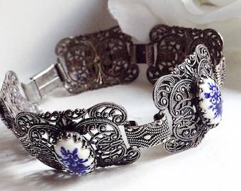 Silver Bracelet,  Silver Filligrie Bracelet, Silver Link Bracelet, Cornflower Link Bracelet, Silver Vintage Bracelet, Silver Vintage Jewelry