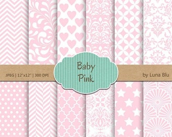 "SALE 50%OFF Baby Pink Digital Paper: ""Baby Pink Patterns"" soft pink, light pink, pale pink, pastel pink, for invitations, scrapbooking, card"