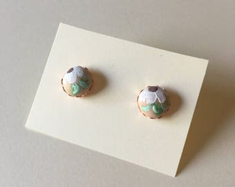 Hand-painted Floral Stud Earrings