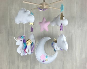baby mobile cloud mobile unicorn mobile baby mobile. Black Bedroom Furniture Sets. Home Design Ideas