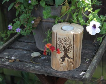 Wood candle holder - Tree of life - rustic decoration
