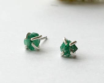 Raw Rough emerald claw Studs