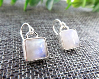 Square Moonstone Sterling Silver Drop Earrings