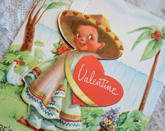 Vintage Valentines Day Card   Chilean Boy   Used School Valentine