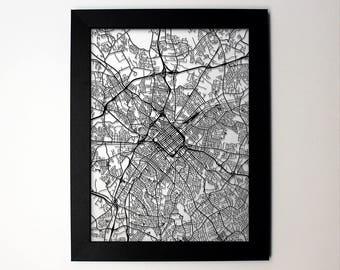 Charlotte, North Carolina laser cut street map minimalist modern art -custom city map wall decor graduation business wedding gift