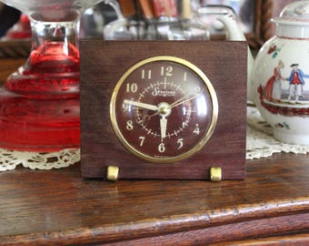 Vintage Sessions Clock with Red Face, Red Faced Clock, Midcentury Clock, Clock in Wood Case, Clock with Convex Glass Face, Alarm Clock