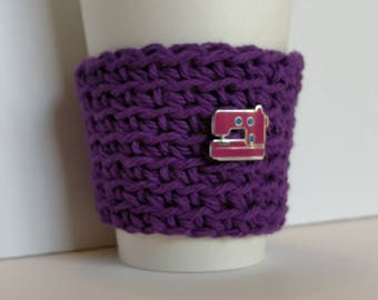 Cozy, purple Cup Sleeve, with sewing machine pin, gift for maker, Coffee Sleeve, Reusable Eco friendly cup cozy, gift for Mom, coworker gift