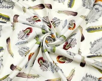 "HERMES SCARF Silk ""Plumes II"" by Henri de Linares 90cm Carre 100% Auth"