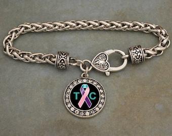 Thyroid Cancer Awareness Ribbon Rhinestone Charm Bracelet