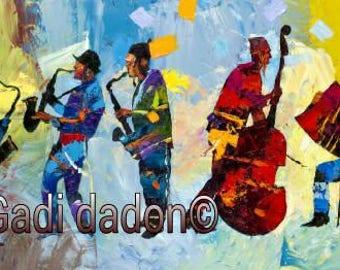 Jewish Musicians Abstract Colorful Art Print Gadi Dadon