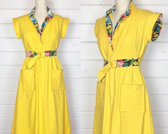 Vintage 1970s Bright Yellow Day Dress / Tropical Print / Made by Jonathan Logan / Cotton Sundress