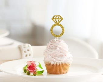DIAMOND RING glitter cupcake topper set of 12 - wedding / bridal shower / bachelorette / engagement / food pick / decoration