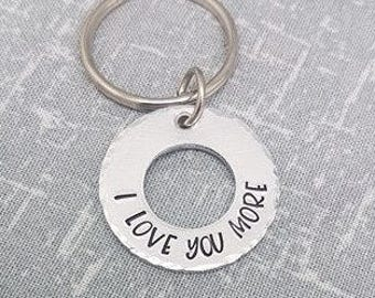 I LOVE YOU MORE - Keyring - Valentines Gift - Valentines Keyring - For Him - For Her - I Love You More