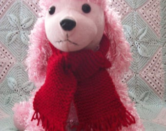 "Small Dog / Cat / Doll / Teddy Hand Knitted Fringed Red Scarf, 23.5"" long,ideal stocking filler/stuffer"