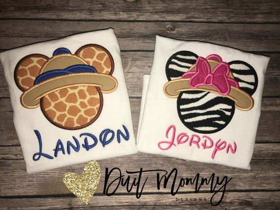 Animal Kingdom Disney Family Shirts | Safari Mickey Minnie | Name | Big Little Baby | Brother Sister Mom Dad | Embroidered | Vacation