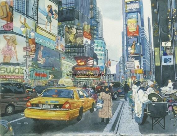 Times Square des fleurs de cerisier. Peinture de la ville.