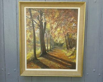 Striking French vintage, large original signed oil painting of a woodland scene, circa 1950s.