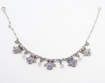 Vintage Dark Silver Tone Metal Chain Link Rhinestones Charm Beads Anklet Beaded Ankle Bracelet
