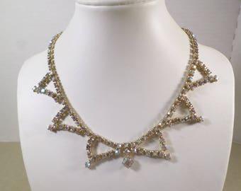 BRIDAL! Beautiful Vintage Gold Tone Prong Set Crystal Aurora Borealis Rhinestone Choker Necklace  DL# 4513