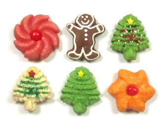 Christmas decor- refrigerator magnets.  Handmade, durable, salt-dough version  of holiday spritz cookies. Includes gingerbread man.