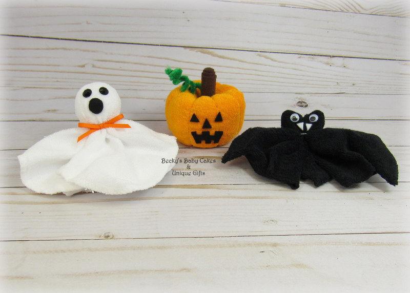 Set Of 3 Washcloth Jack O Lantern Bat And Ghost Halloween Baby