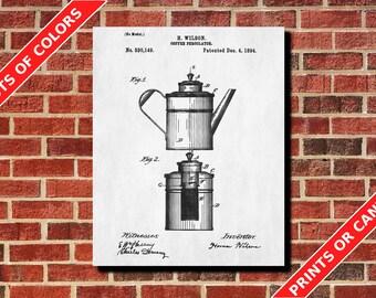 Coffee Percolator Blueprint Kitchen Wall Art Poster Cafe Art Coffee Poster Kitchen Poster