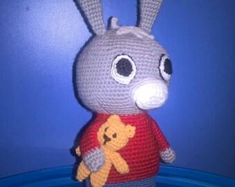 """Donkey Trotro 11"""" and Teddy bear, amigurumi crochet toy"""