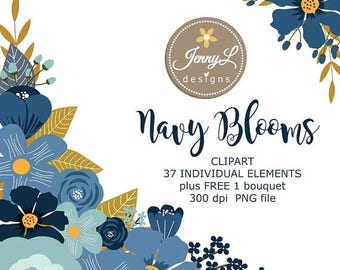 50% OFF Navy Blue Flower Elements Clipart, Wedding Flowers, Navy Blue Flower, Floral Arrangement for digital Scrapbooking, Wedding,