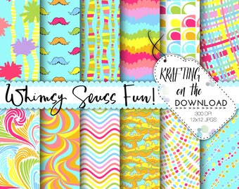 whimsy seuss inspired paper pack seuss digital paper lorax paper pack seuss digital papers seuss scrapbooking seuss background lorax papers