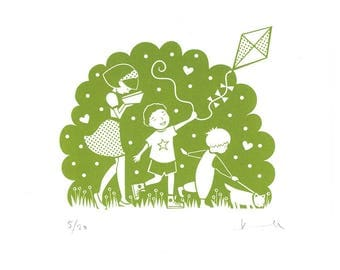 Family Treasure Hunt Screenprint • Signed Limited Edition A4 Hand-pulled Original • Nursery • Mother's Day • By Kate Maxwell Design&Draw
