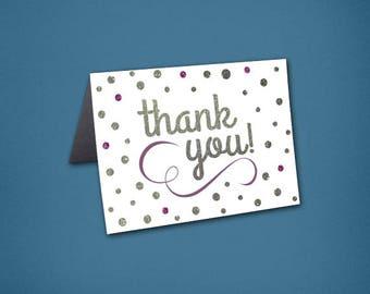 Glitter Art Deco Wedding Thank You Cards • Thank Yous • Bridal Shower • Art Deco Thank You Card • Art Deco • Sparkle • Glitter • Glam